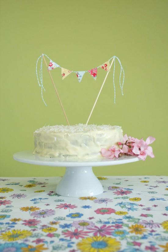 Akimbo cake topper 1 550x825 Fabric Bunting Cake Topper Tutorial With Hummingbird Cake Recipe