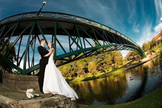 Wide lens bridge 550x367 Pink & White Classic Adelaide Winter Wedding