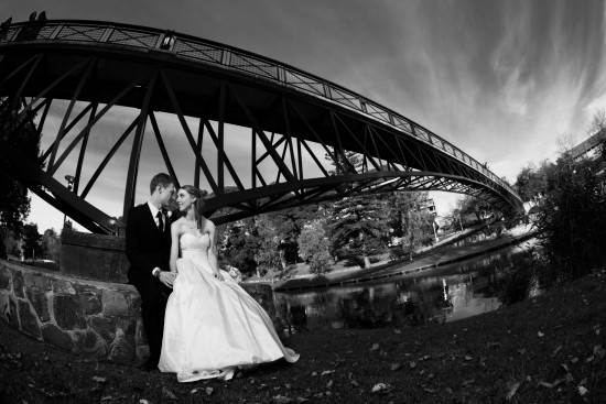 bw under bridge 550x367 Pink & White Classic Adelaide Winter Wedding