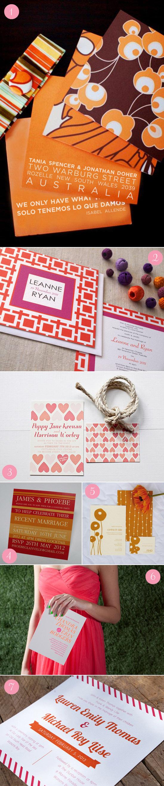 modern orange wedding invitations Modern Wedding Invitations