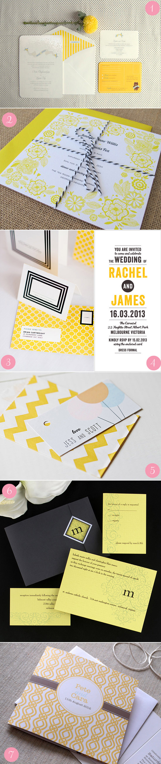 modern yellow wedding invitations Modern Wedding Invitations