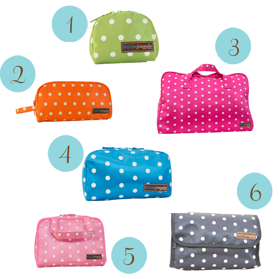polka dot cosmetic cases Spotty Travels with aqua by jimeale
