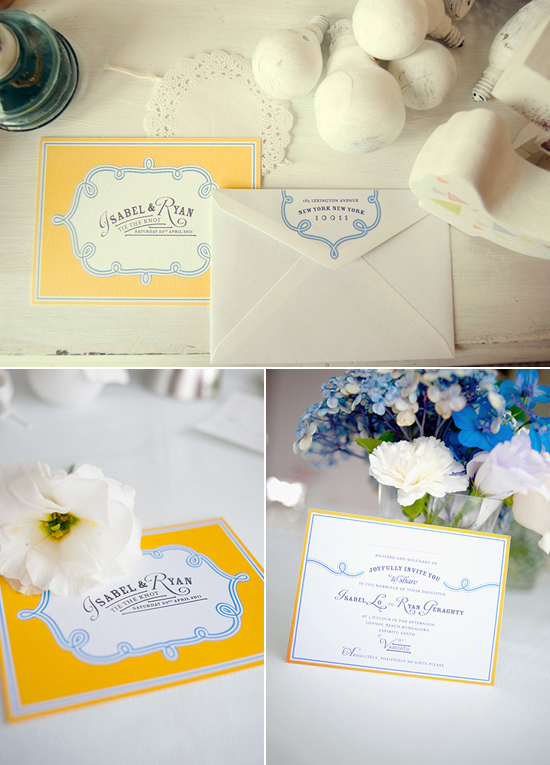 yellow and blue wedding invitation Creative Wedding Stationery From Mr&Mrs