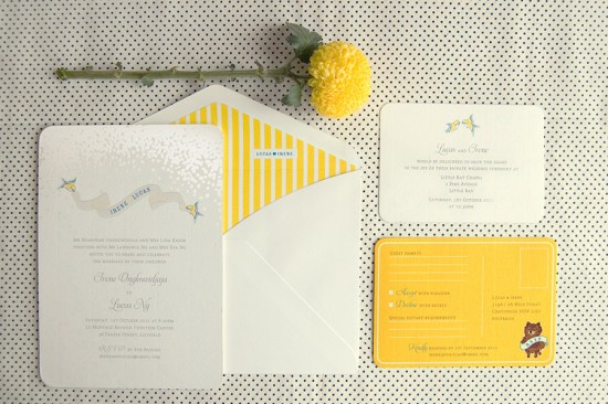 yellow striped invitation1 550x366 Creative Wedding Stationery From Mr&Mrs