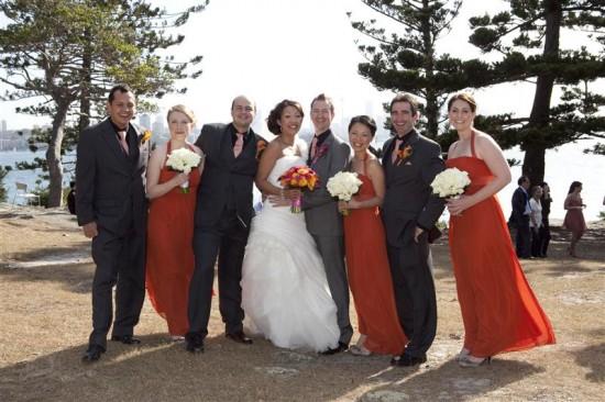 Simpson 228 550x366 Bess and Mitchs Orange & Pink Shark Island Sydney Wedding