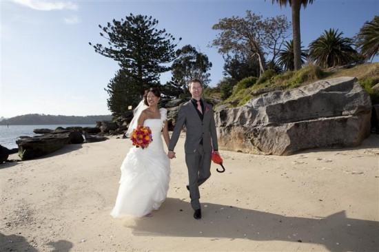 Simpson 285 550x366 Bess and Mitchs Orange & Pink Shark Island Sydney Wedding