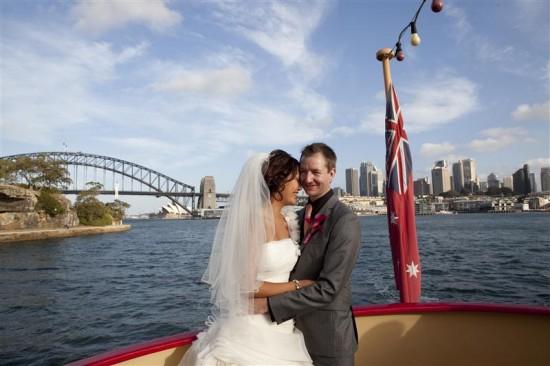 Simpson 326 550x366 Bess and Mitchs Orange & Pink Shark Island Sydney Wedding