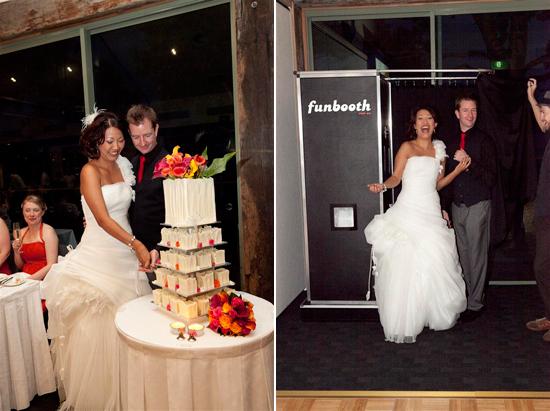 Sydney photobooth Bess and Mitchs Orange & Pink Shark Island Sydney Wedding