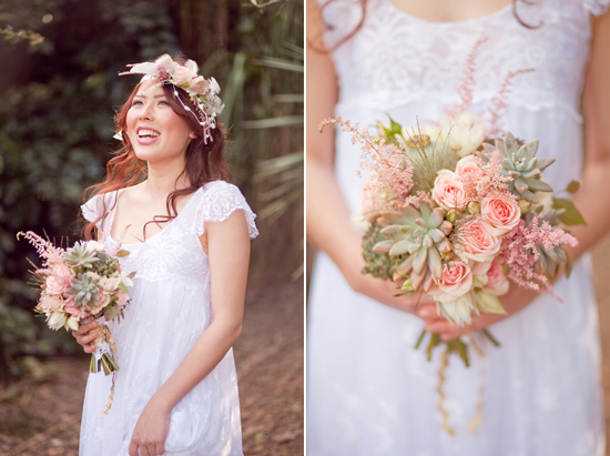 bohemian flower inspiration001 Garden Bohemian Wedding Inspiration
