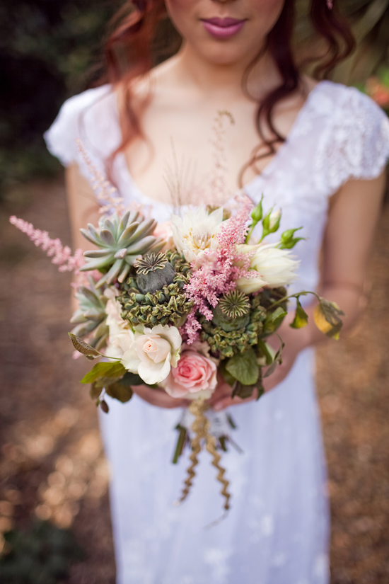 bohemian flower inspiration003 Garden Bohemian Wedding Inspiration