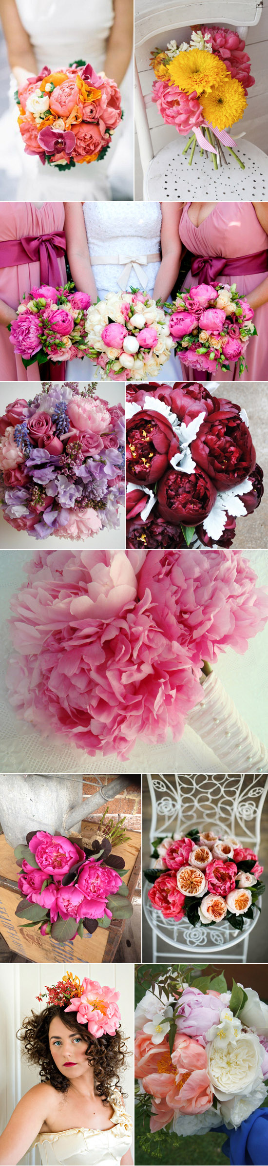 coloured peony wedding inspiration