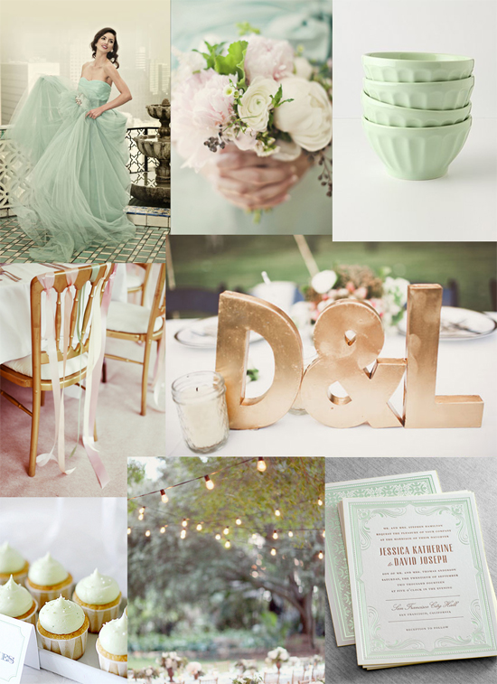 mint and gold wedding inspiration Mint & Gold Gala Wedding Inspiration