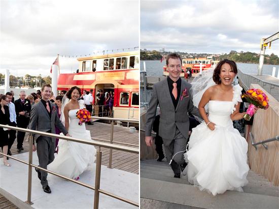 orange and pink waterside Sydney wedding Bess and Mitchs Orange & Pink Shark Island Sydney Wedding