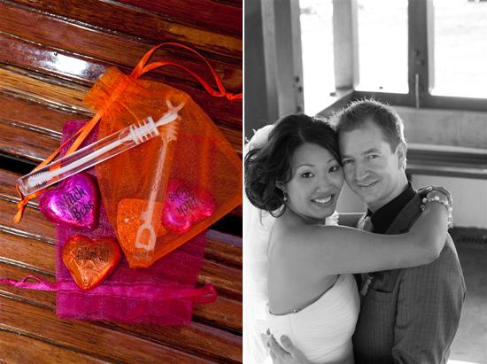 orange and pink wedding favors Bess and Mitchs Orange & Pink Shark Island Sydney Wedding