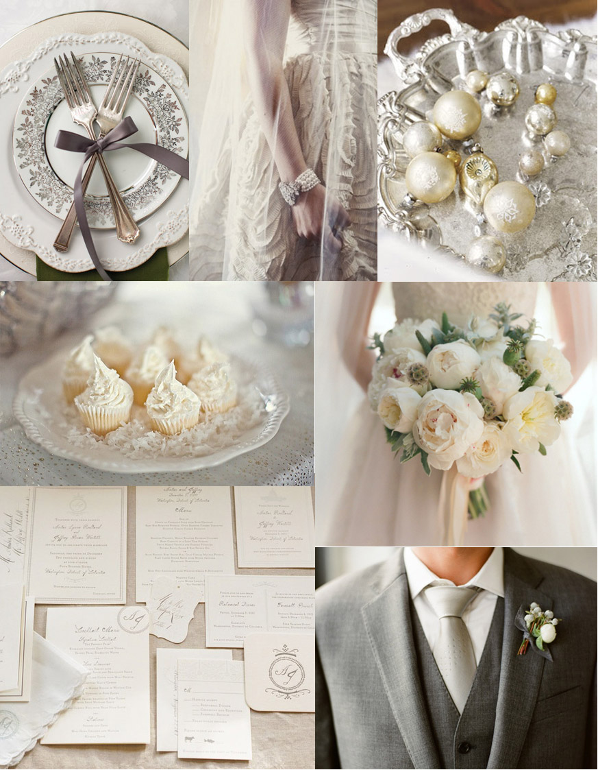 cream and mercury silver wedding