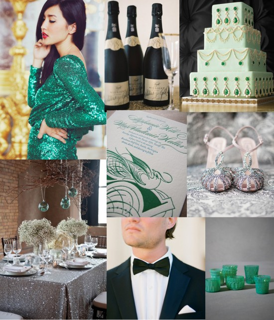 emerald green wedding inspiration 550x642 An Emerald Green Event