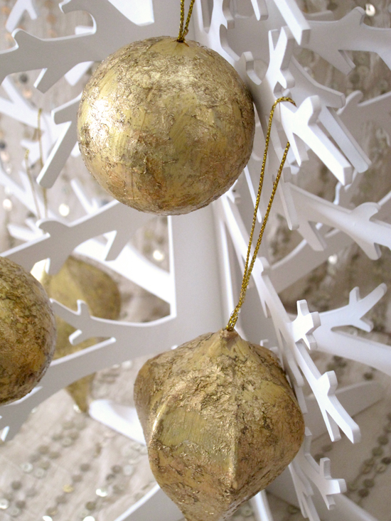 gold christmas decor ideas Gold Leaf Ornament Tutorial