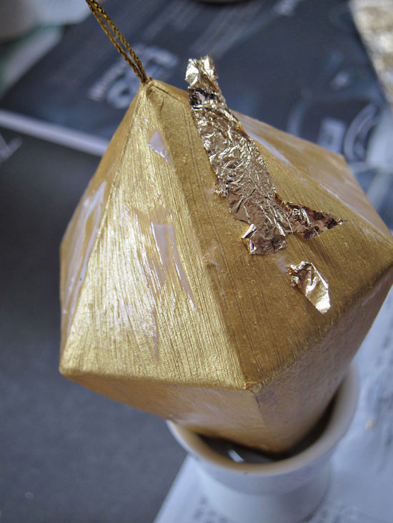 gold leaf ornament using modge podge Gold Leaf Ornament Tutorial