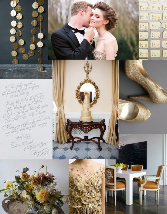 grey and gold wedding inspiration 550x702 A Gold & Grey Gathering