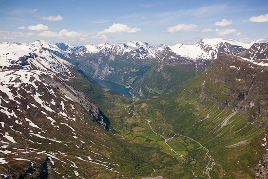 View of Geiranger from Dalsnibba Peak.