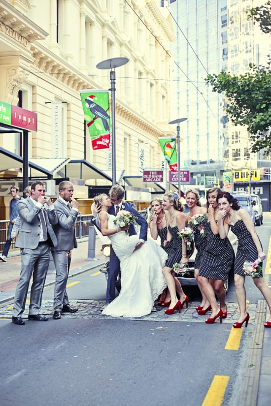 Steve Maura 306 1 550x825 Rustic 1940s Polka Dot Wellington Wedding