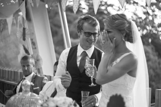 Steve Maura BW 372 550x366 Rustic 1940s Polka Dot Wellington Wedding