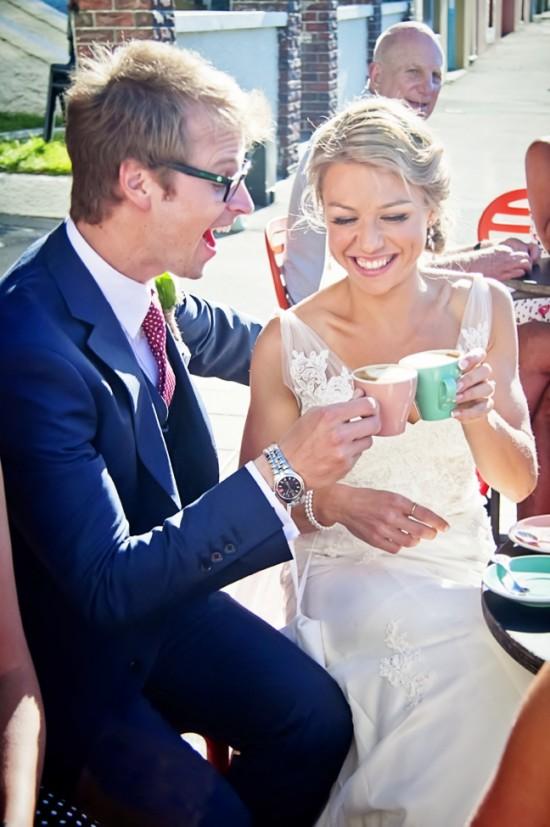 Steve Maura coffee 550x827 Rustic 1940s Polka Dot Wellington Wedding
