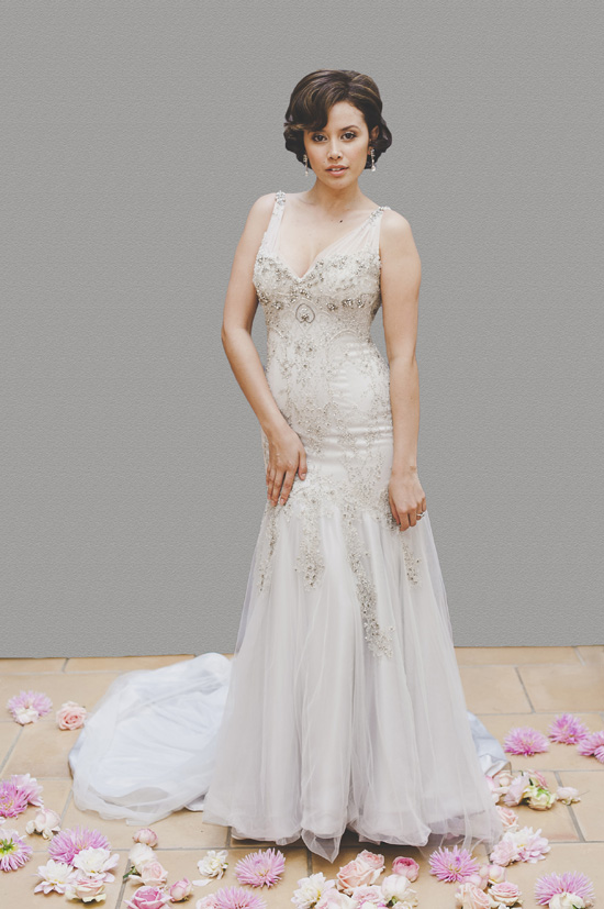 blue wedding gown from savvy brides