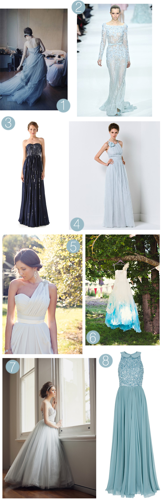 blue wedding gowns Blue Wedding Gown Inspiration
