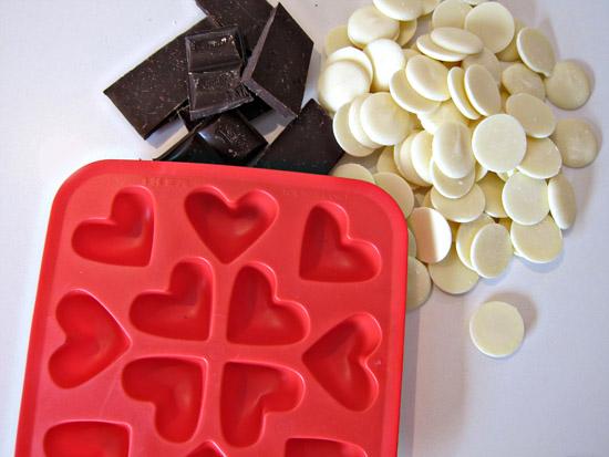 heart stripey chocolates
