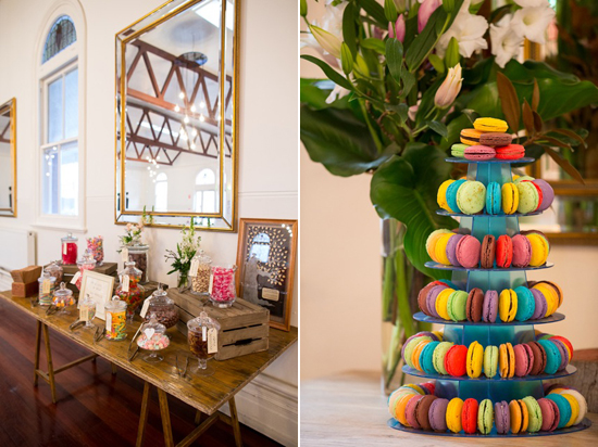 macaron wedding tower Lisa & Macca's Vintage Inspired Convent Wedding