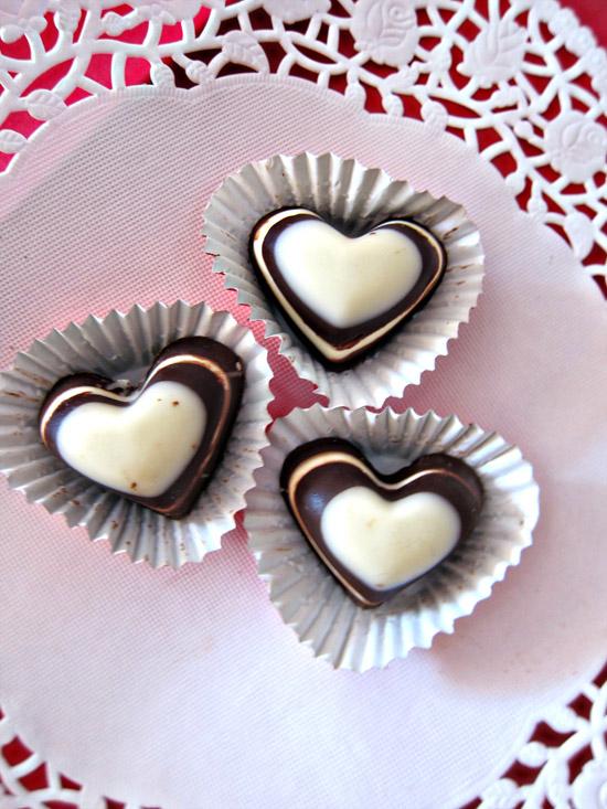 striped heart chocolates