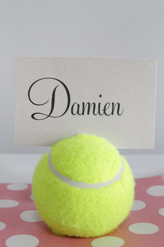 tennis ball placecard holders 6 DIY Tennis Ball Placecard Holders Tutorial