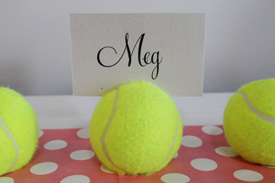 tennis ball placecard holders1 DIY Tennis Ball Placecard Holders Tutorial