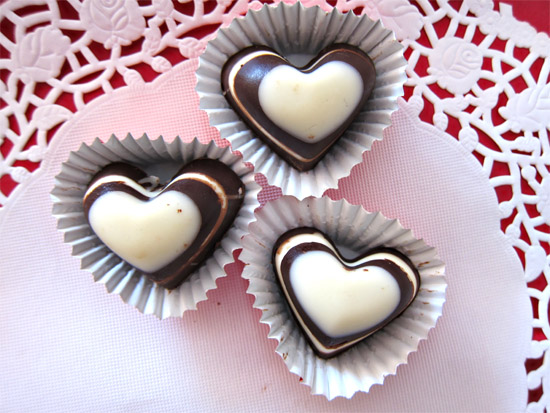 valentines heart chocolates Striped Valentines Day Chocolates Tutorial