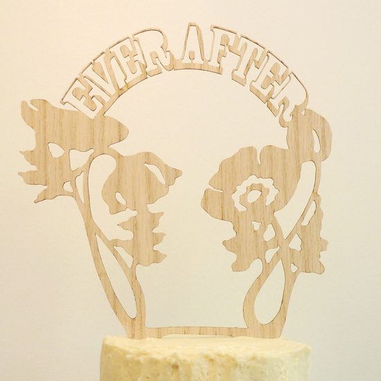 whimsical carved wood cake topper01 Whimsical Wedding Decor From The Shoppe By Madeline Trait
