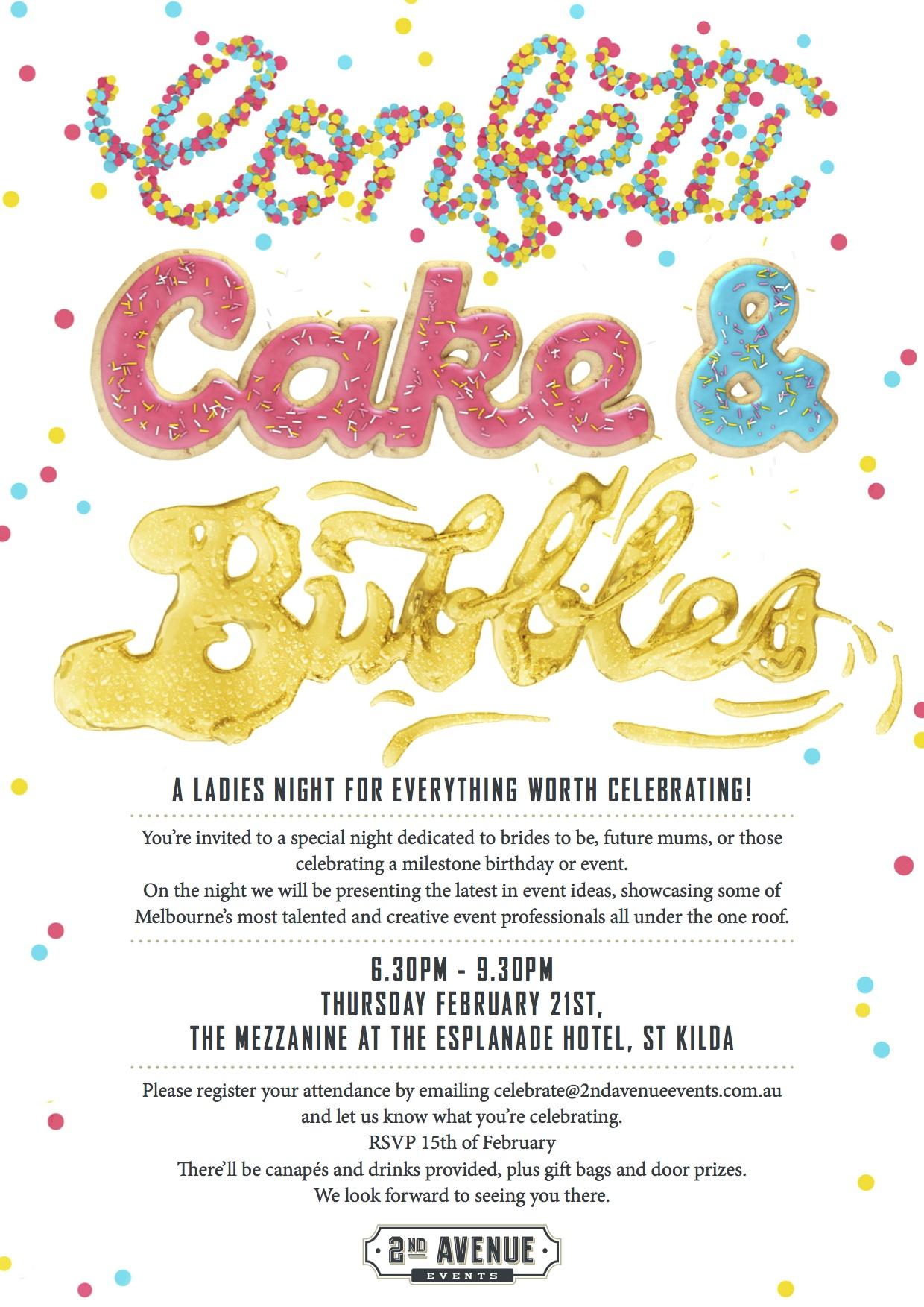 Confetti, Cake & Bubbles Invite