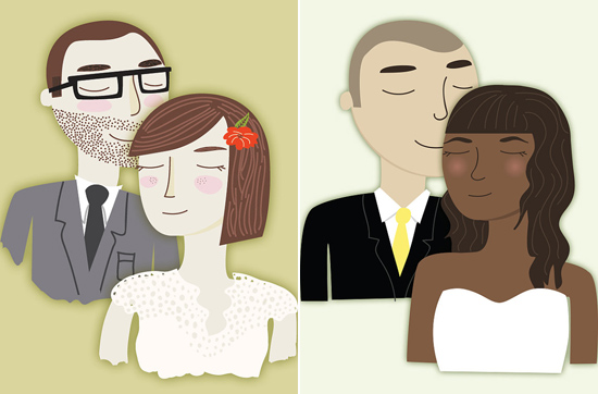 Custom Illustration of Bride and Groom Draw Me In Ink Custom Drawn Wedding Portraits