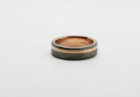Damascus rose gold inlay RS What Would They Know? Rohan Milne from Rohan Jewellery