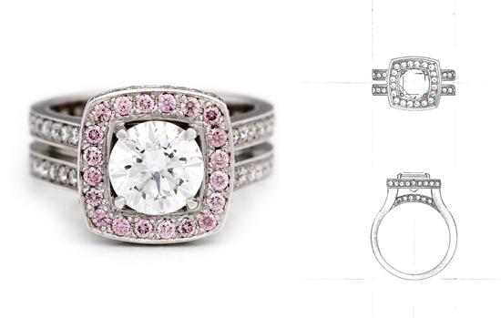 Pink Diamond halo ring and sketchRS What Would They Know? Rohan Milne from Rohan Jewellery