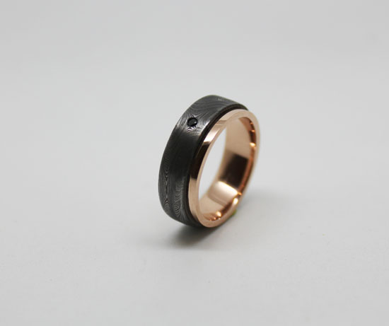 RS Damascus rose gold inlay black diamond detail What Would They Know? Rohan Milne from Rohan Jewellery
