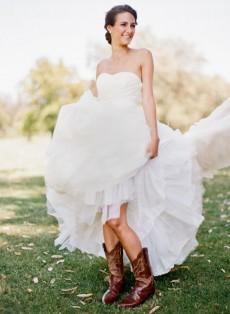 bride in cowboy boots