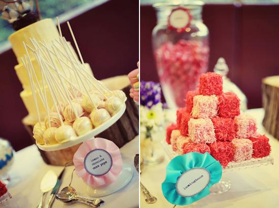 dessert table ideas lamingtons cake pops Rustic 1940s Polka Dot Wellington Wedding