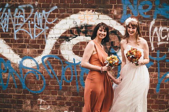 Bridesmaid in vintage apricot dress
