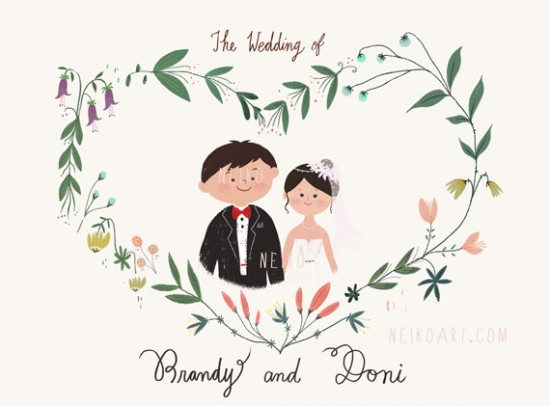 neiko wedding illustrations 550x406 Draw Me In Ink Custom Drawn Wedding Portraits