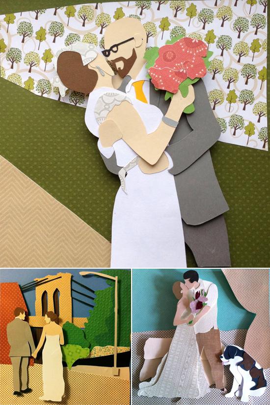 paper wedding portraits