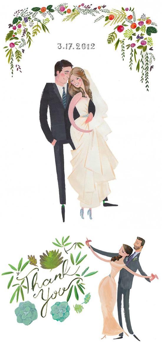 watercolour hand drawn wedding portraits
