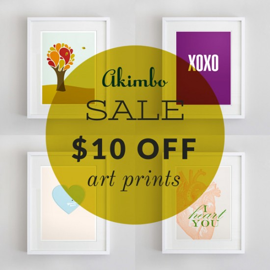 Akimbo 10 off love prints sale 550x550 Friday Roundup