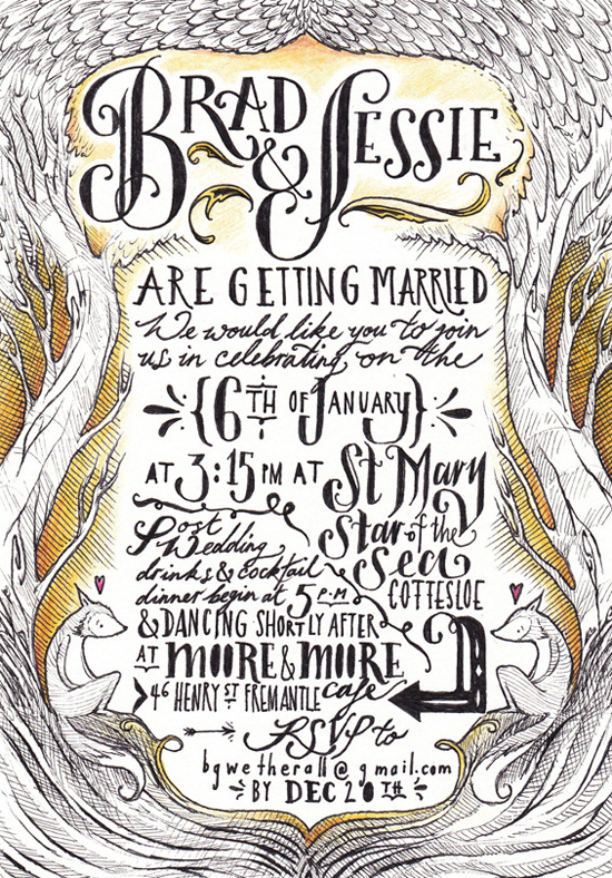 hand illustrated wedding invitations04 Andrew Frazer Custom Illustrated Invitations