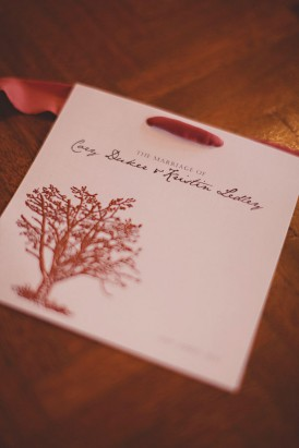 Wedding Invite With Red Tree